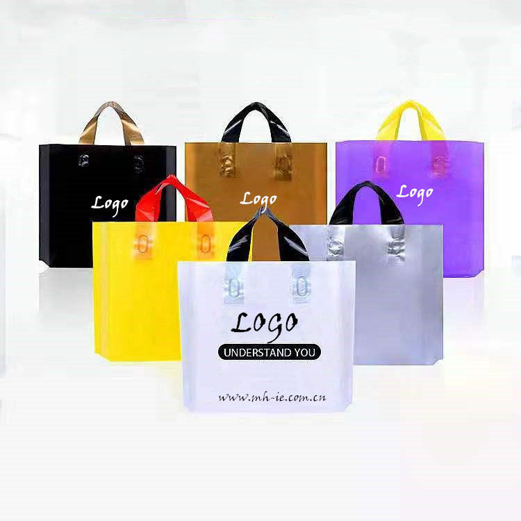 Custom Printed Logo Biodegradable Clothes Shopping Poly PE Plastic Shopping Bag With Handle