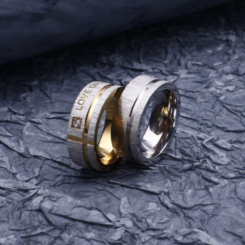 MJ Jewelry Micro Pave Diamond Love Golden Stainless Steel Couple Ring