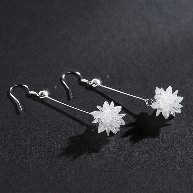 4.9G Artificial Synthesis Crystal 925 Sterling Silver Ice Flower Pendant Drop Earring