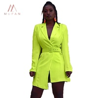 Fluorescence Green Patchwork Sexy Tight Dress Irregular Casual Suits Women Dresses