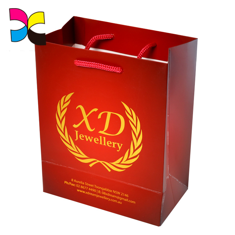 Customized logo carton picture silk handle reusable waterproof paper bag