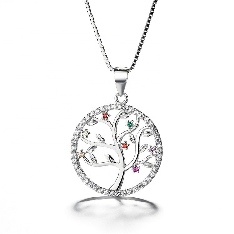 Wholesale Custom 925 silver pendant with Jewelry CZ Colorful Tree Of Life Pendant Necklace