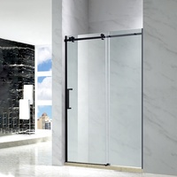 Aluminum Frame Extend Temporary Tempered Glass Black Framed Shower Door Glass Shower Door