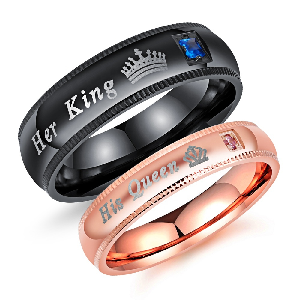 Romantic Anniversary Gift Stainless steel CZ Couple King And Queen Rings