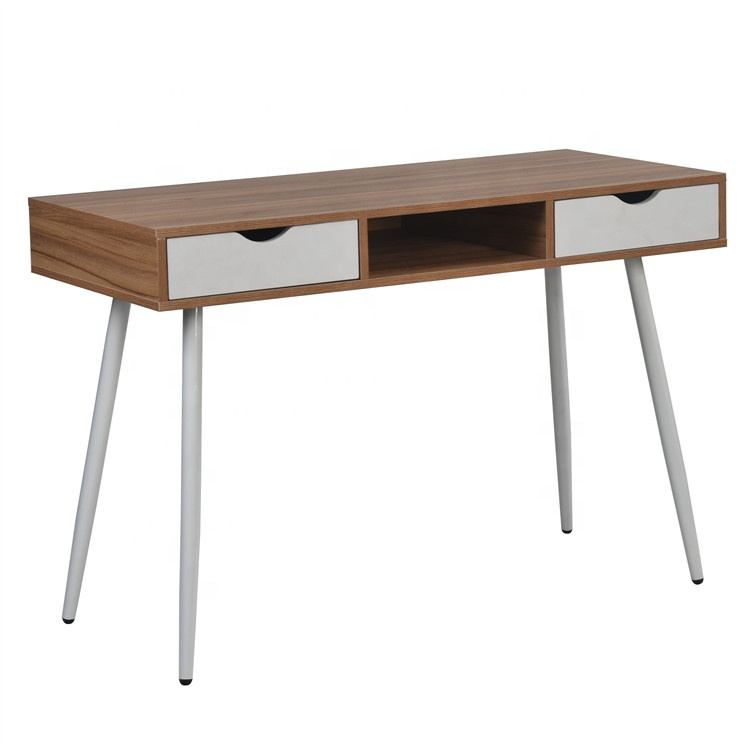 Modern Home Office with 2 Drawers Workstation Table Steel Frame Computer Desk