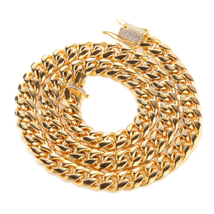 Popular Hip Hop Grosso Pesado Cubano Link Correntes de Ouro, Moda Jóias Correntes de Ouro Para Os Homens, correntes de aço Inoxidável de alta Qualidade