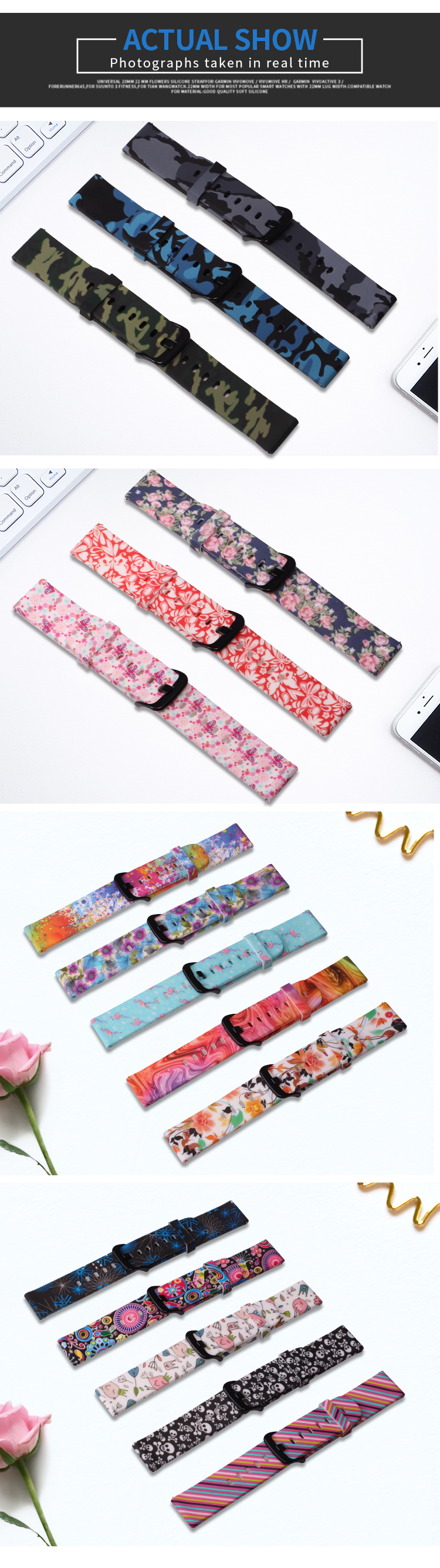 BOORUI Amazfit Bip Strap 20mm Watch Band Camouflage Silicone varied flowers print 20mm 22mm wrist strap For Xiaomi Huami Amazfit