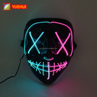 Amazon Hot Selling Neon Light Led Purge Mask High Brightness Halloween Light Up Concert Vendetta Mask Powered by AA Batteries