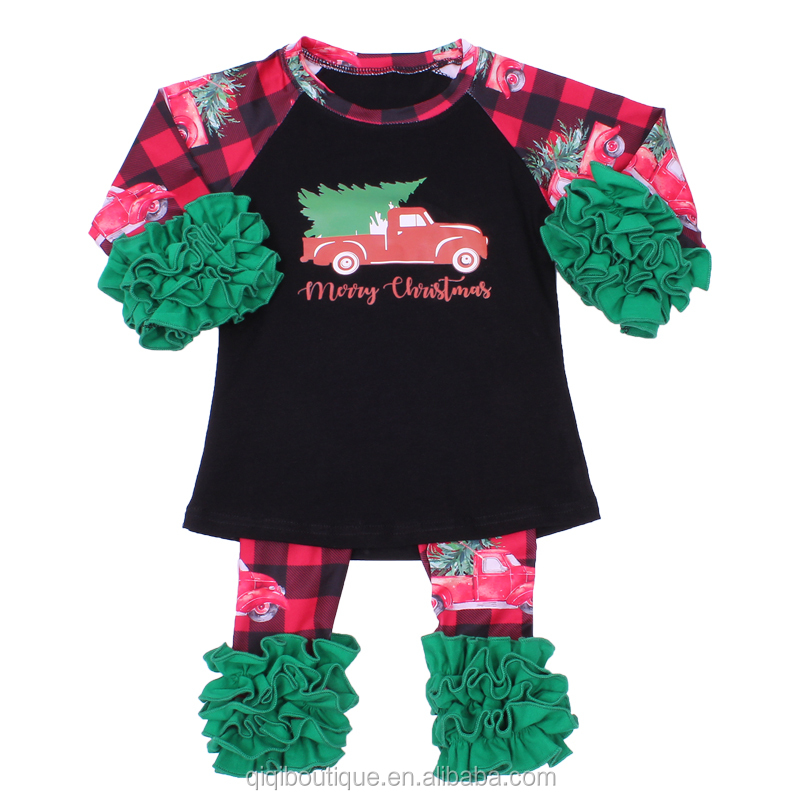 Baby girl cartoon design clothing sets for Christmas holiday Santa design milk silk pajamas long sleeve fashion style 2020