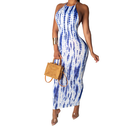 sexy slim backless tie dye 100 rayon long maxi dresses