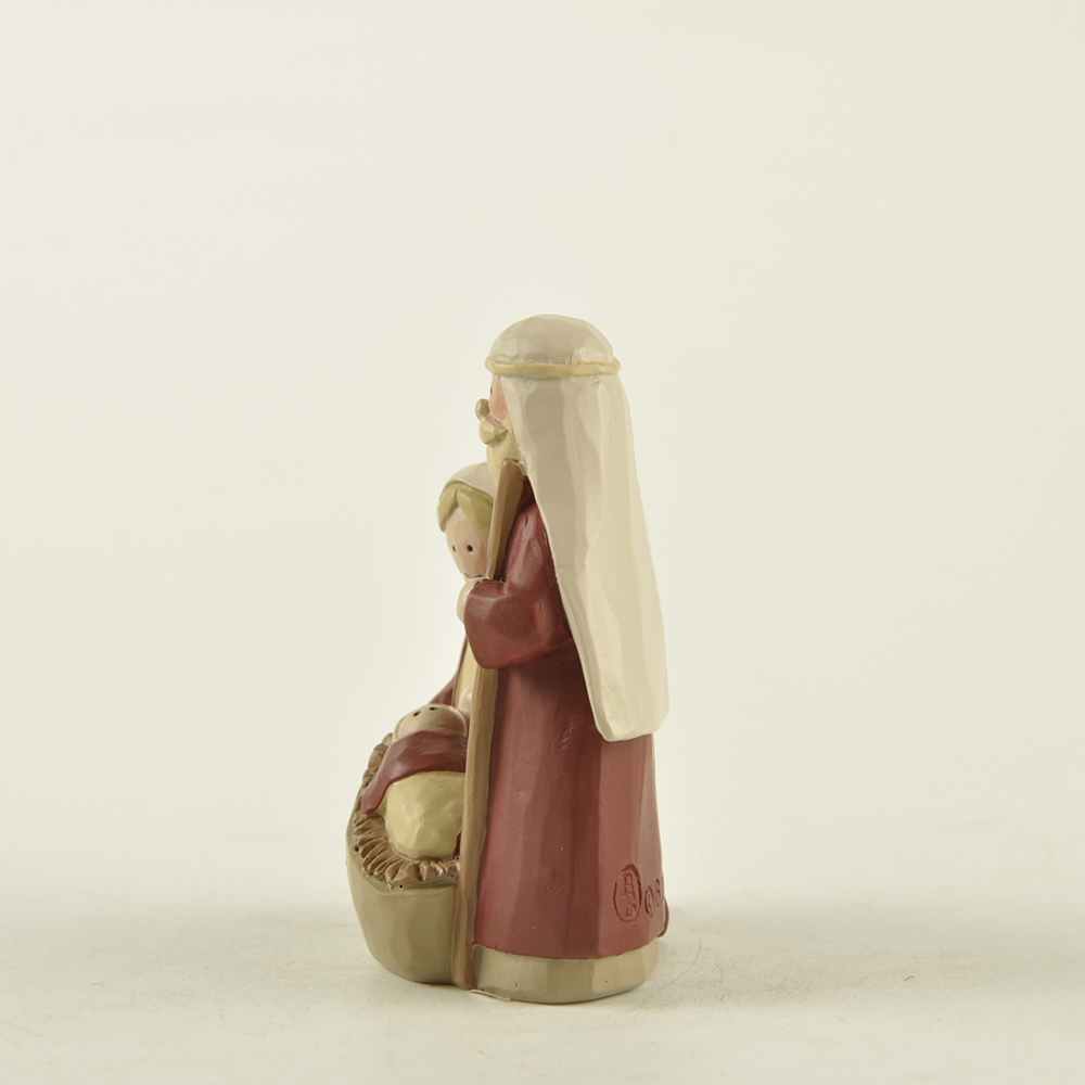Custom 2.75 inches resin religious crafts holy family figurines small holy family statue for indoor decor