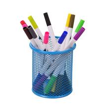 Металлический Сетчатый Контейнер для ручек, держатель для карандашей, органайзер, косметическая круглая подставка для ручек, канцелярский ...(Китай)