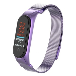ODM Holdmi 43036 series new design dazzling purple color milanese miband4 strap for Xiaomi miband 4 3