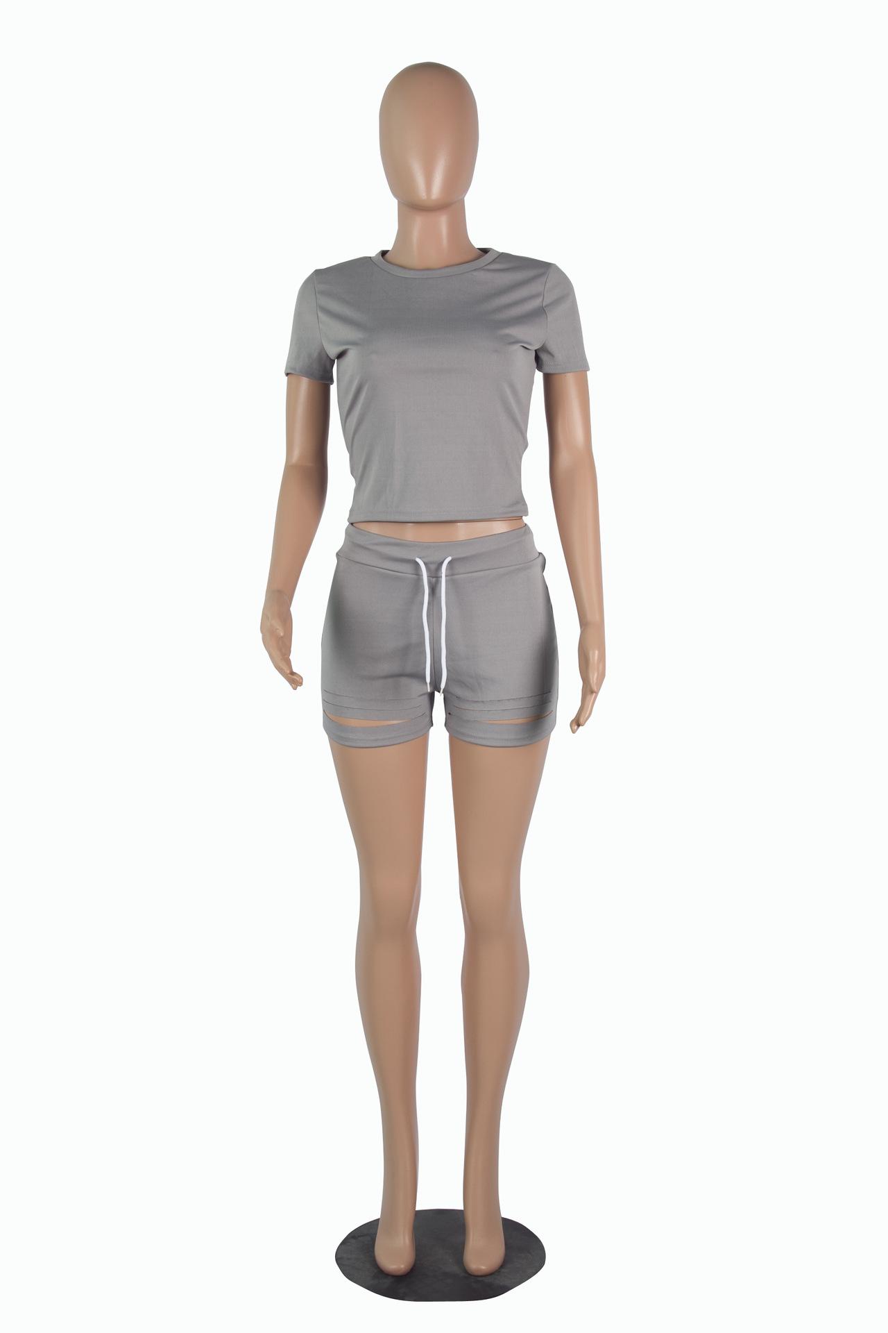 FM-CY9027 summer new plain t-shirts pink sets womens biker short sets