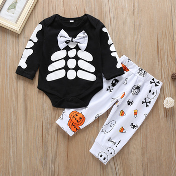 Personality Halloween Baby Clothes Sets Kids Children Cotton Rompers With Floral Bows Pumpki Print Pants Outfit Clothes Set