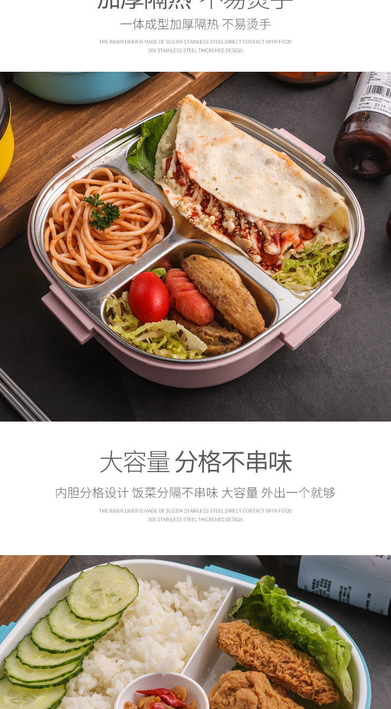 BPA Free Plastic Stainless steel compartment Bento box Lunch box for student