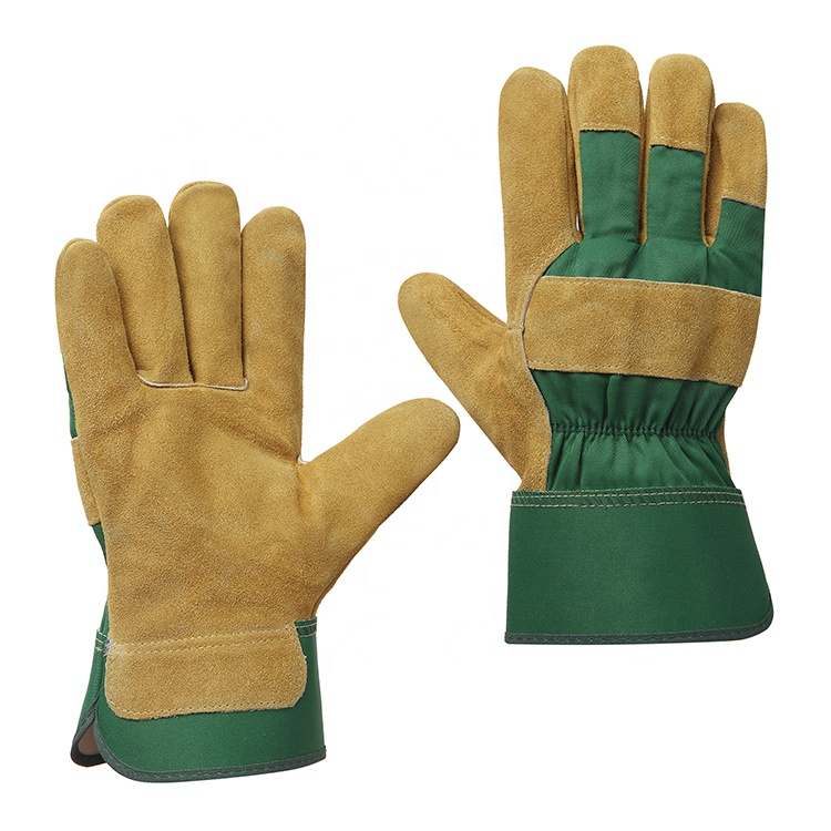 Wholesale high quality cow split leather hand protection anti cut heat resistant industrial safety working construction gloves