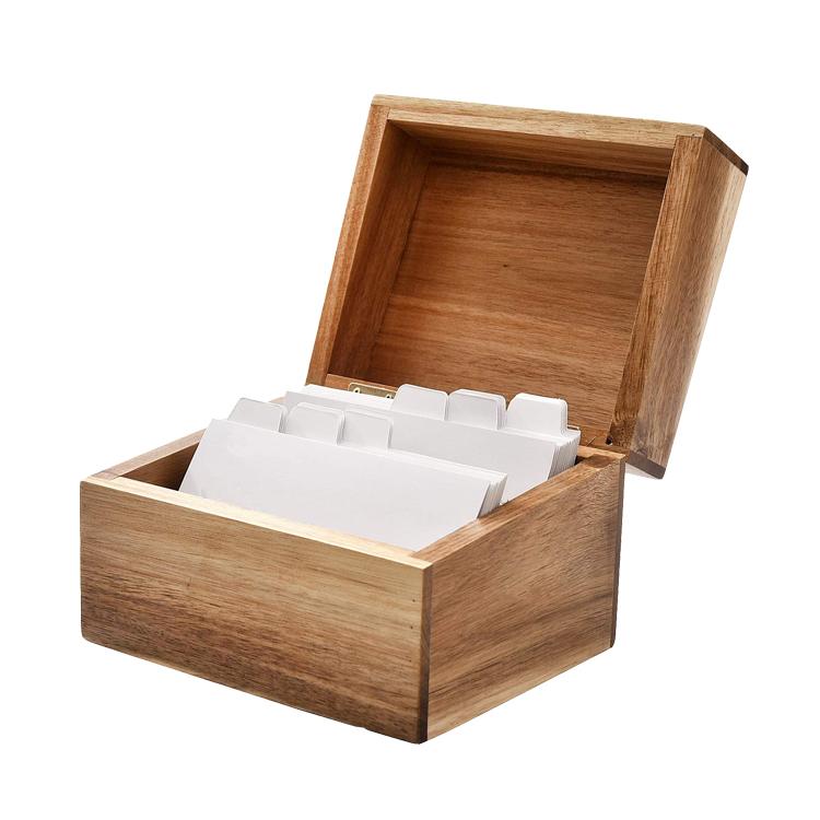 Nouveau Cadeau Personnalisé Naturel Bois D'acacia Fiche Recette Boîte De Rangement avec 2 Compartiments