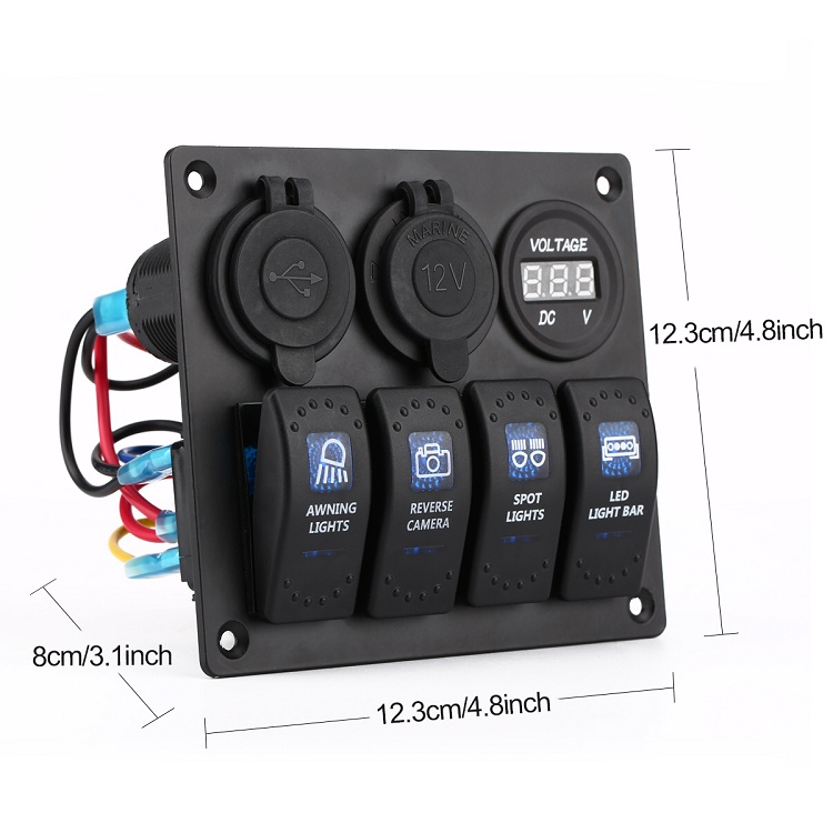 waterproof Auto boat marine blue Led light rocker switch panel 4 Gang with dual USB and power socket and voltmeter