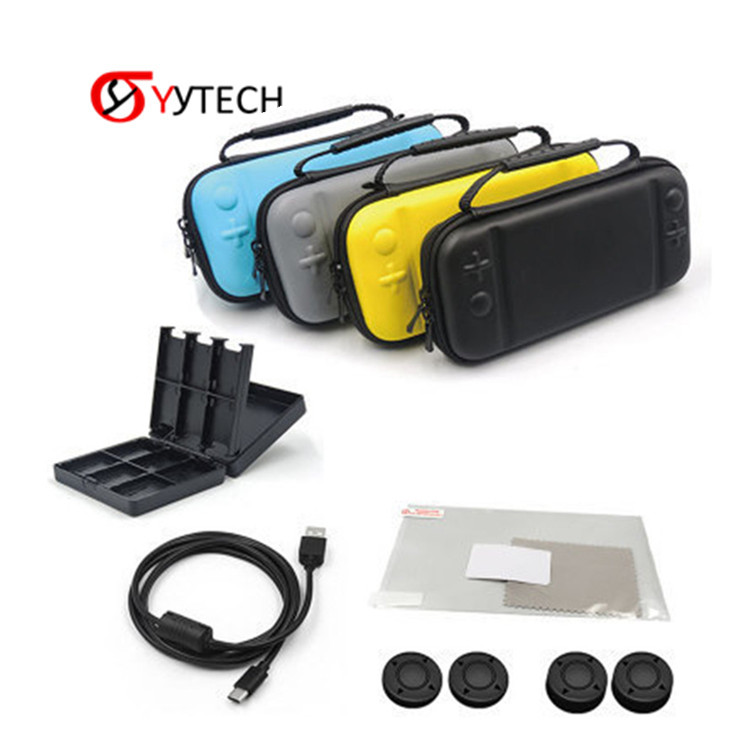 SYYTEC For Nintend Switch Lite Min Accessories 8 IN 1 Storage Bag Case Tempered Glass Film Protector Card Holder Box