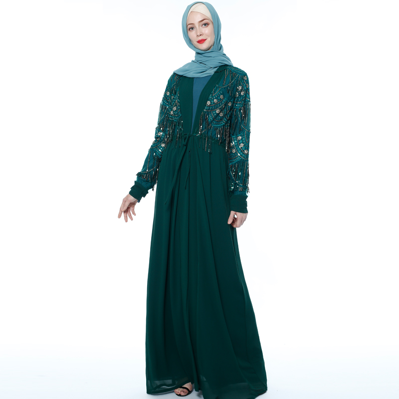 Black Embroidery Designs Kimono Abaya Dubai Style Belt Jilbab Islamic Clothing abaya arabic muslim long dress new model abaya