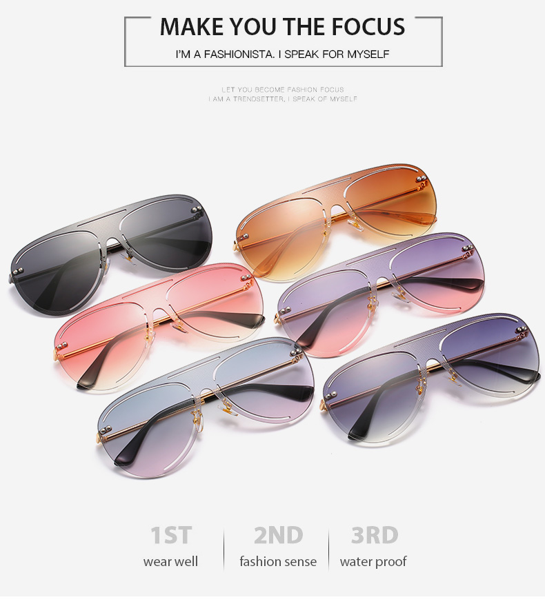 THREE HIPPOS Oval Sun Glasses Women Metal Gradient Custom Logo Shades Big Cassic 2020 New Arrivals Personalized Delicate Elegant Sunglasses