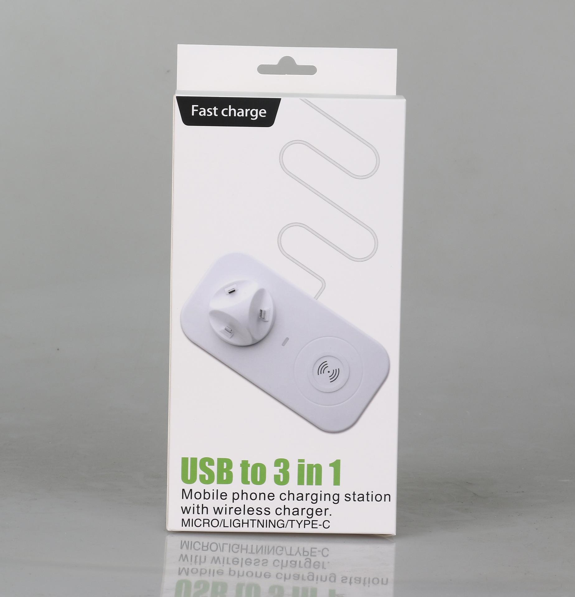 Telefone celular estação de carregamento sem fio carregador sem fio estação 3 em 1
