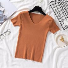 Женская трикотажная футболка из ледяного шелка, белая футболка в Корейском стиле с коротким рукавом и v-образным вырезом, элегантный тонкий ...(China)