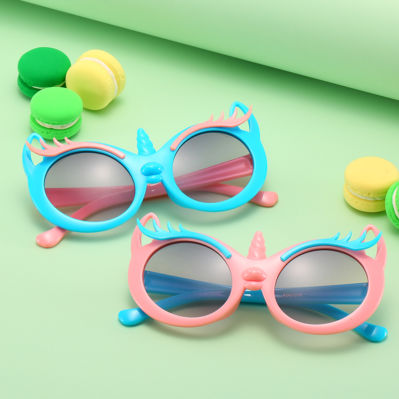Boy and girl child PC plastic cat eye sunglasses cartoon unicorn kid sunglasses