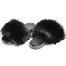 Меховые шлепанцы для женщин, летние сандалии с мехом без застежки для маленьких девочек, Вьетнамки, домашняя обувь на плоской подошве(Китай)