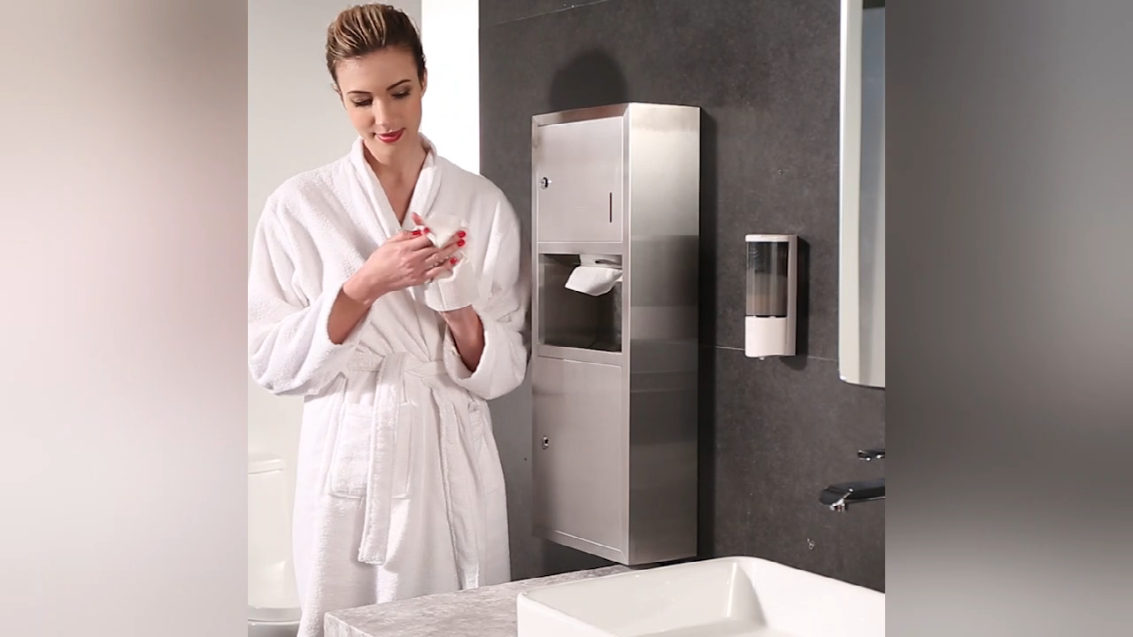 304 Stainless Steel Recessed Toilet Paper Towel Holder Dispenser With Trash Waste Bin