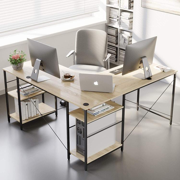 Escritorio de oficina ejecutivo personalizado con estantes, mesa de escritura para trabajo en casa, escritorio en forma de l
