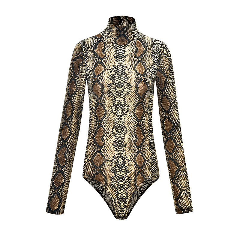 Leopard Print Long Sleeve High Neck Bodysuits Blouse Tops Women Club Sexy Leopard Bodysuit