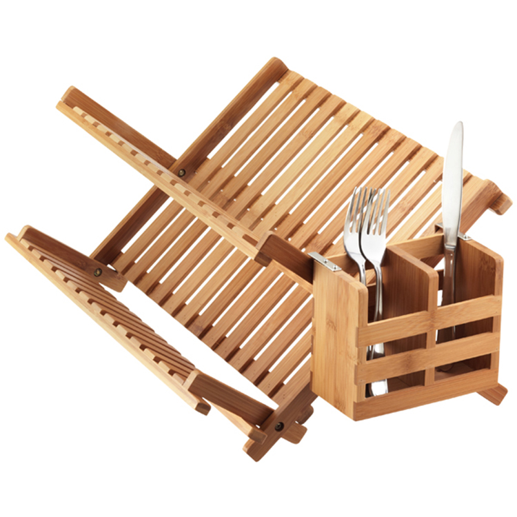 Hot Sale Kitchen Sink Collapsible Dish Rack Cup Holder Bamboo Dish Drying Rack