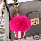 Key Bag Ice Cream Ball Key Chain Bag Pendant Under The Box Accessories Pom Poms Fox Fur Ball Key Chain