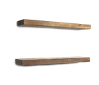 Rustic wooden floating shelves set of 2 for bedrooms