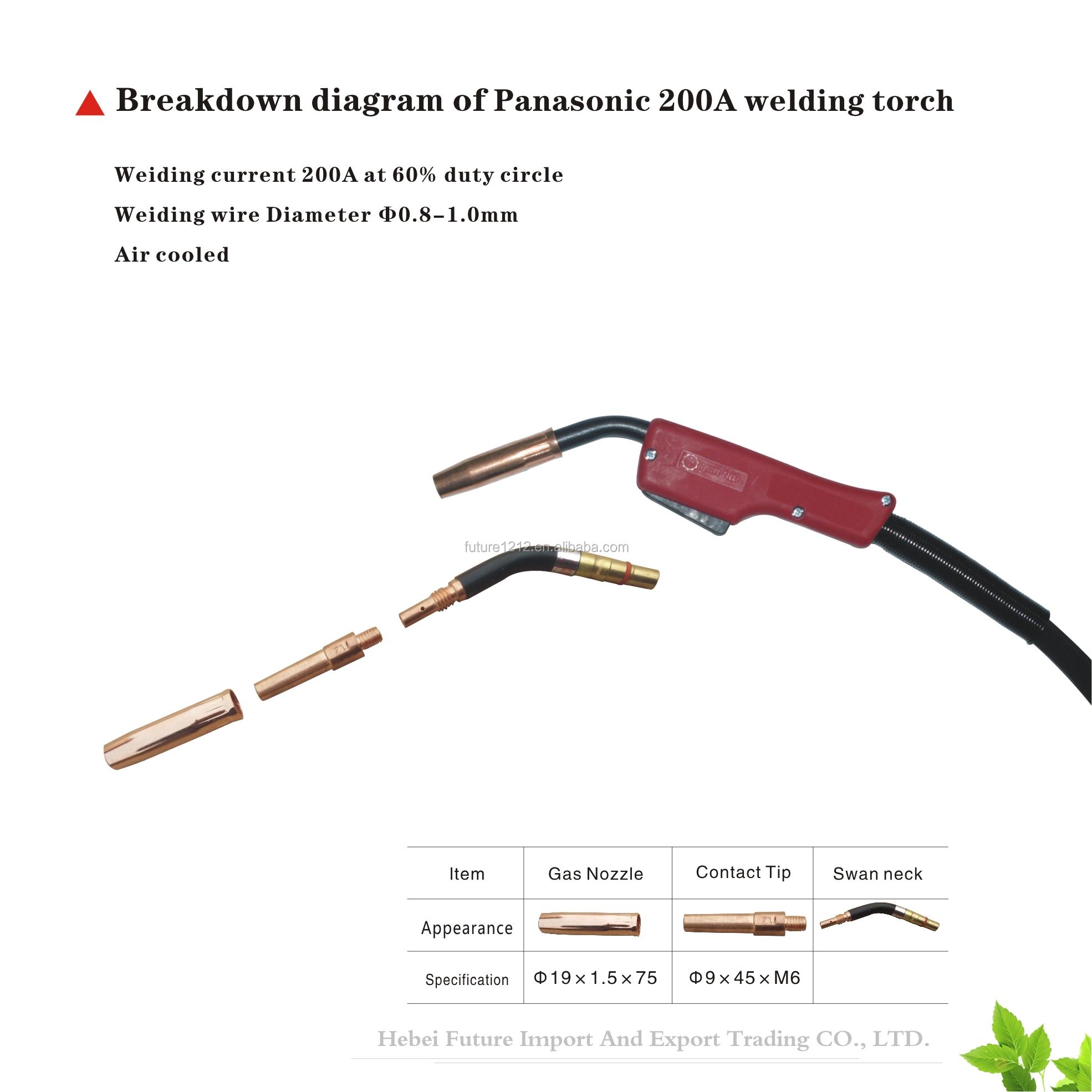 Panasonic tipi 500A kontak ucu M6x8.8x45 0.8/1.0/1.2/1.6