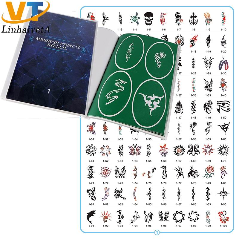Book 1 Reusable adhesive temporary henna glitter airbrush tattoo stencil