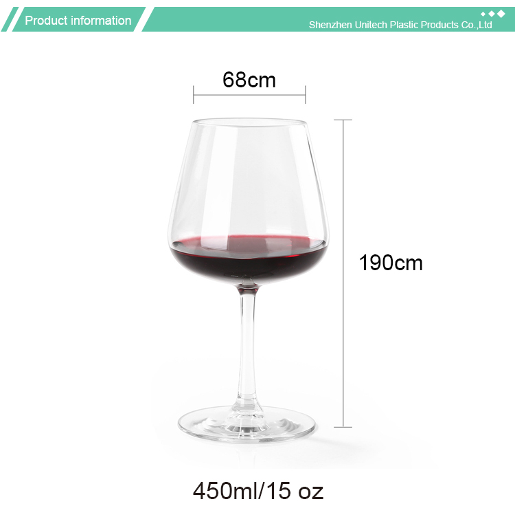 Clear Tritan Glasses Plastic Red Wine Glass 20 OZ Clear Wine Plastic Glass Crystal Goblets Colored Wine Glass