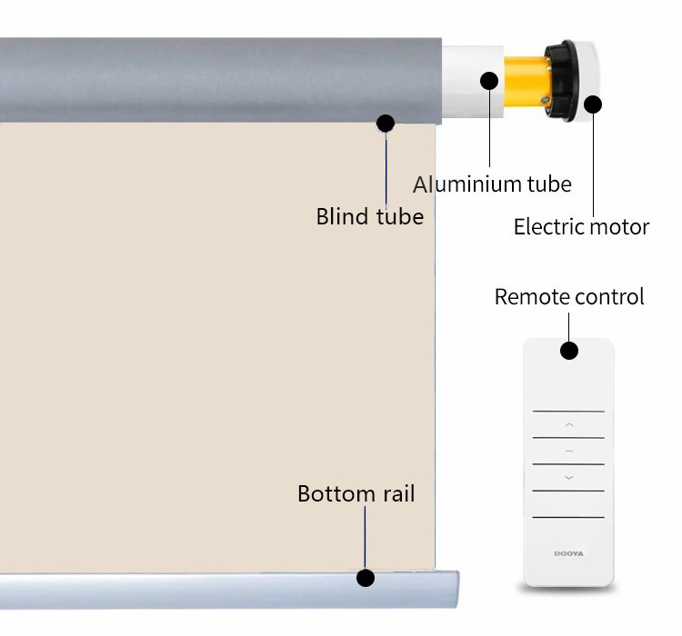 2019 Blackout Fabric Wifi Motorized Roller Blinds Operated