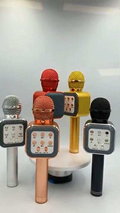 Handheld USB Portable WS1818 LED Light recording KTV Wireless Karaoke Microphone Speaker for mobile phone