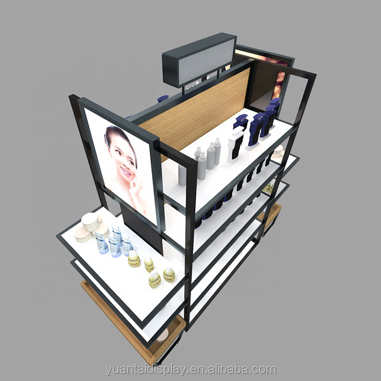 MDF cosmetic store interior table display counter furniture design shenzhen factory