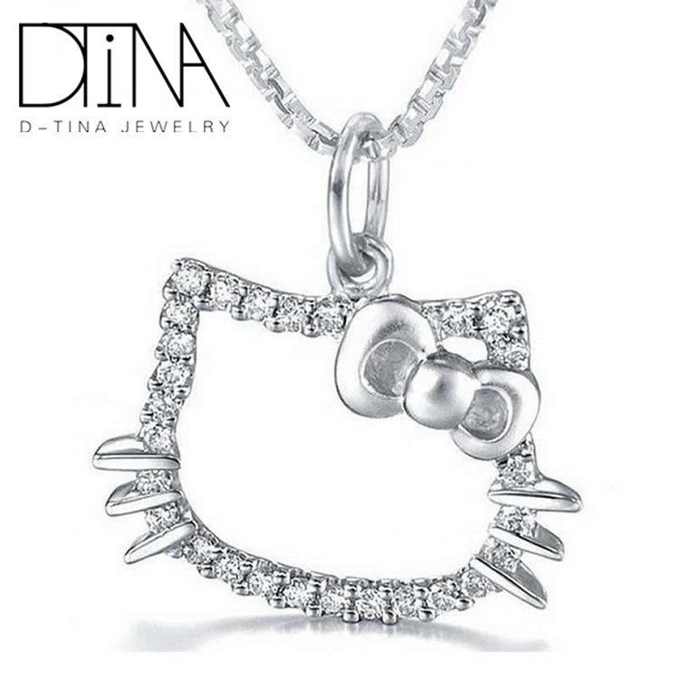 DTINA 2019 HelloKitty Cat 925 Silver Pendant Necklace Jewelry Cute Animal Design Pendant, White