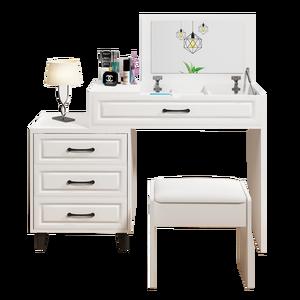 White Women  Mirror Drawer Dresser Bedroom Furniture With Stool