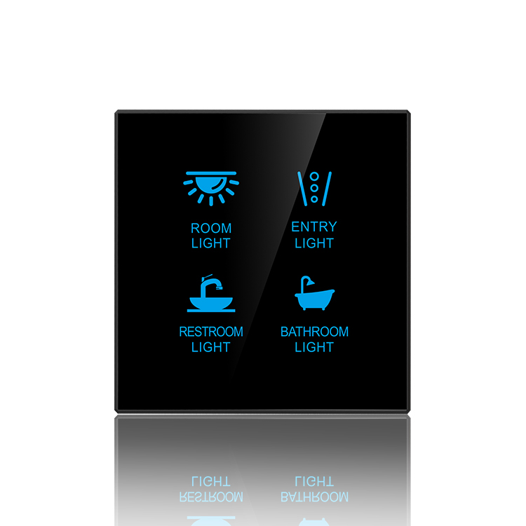 Smart Home Touch Light Wall <strong>Switch</strong> 4gang for z wave and Knx or Dali System