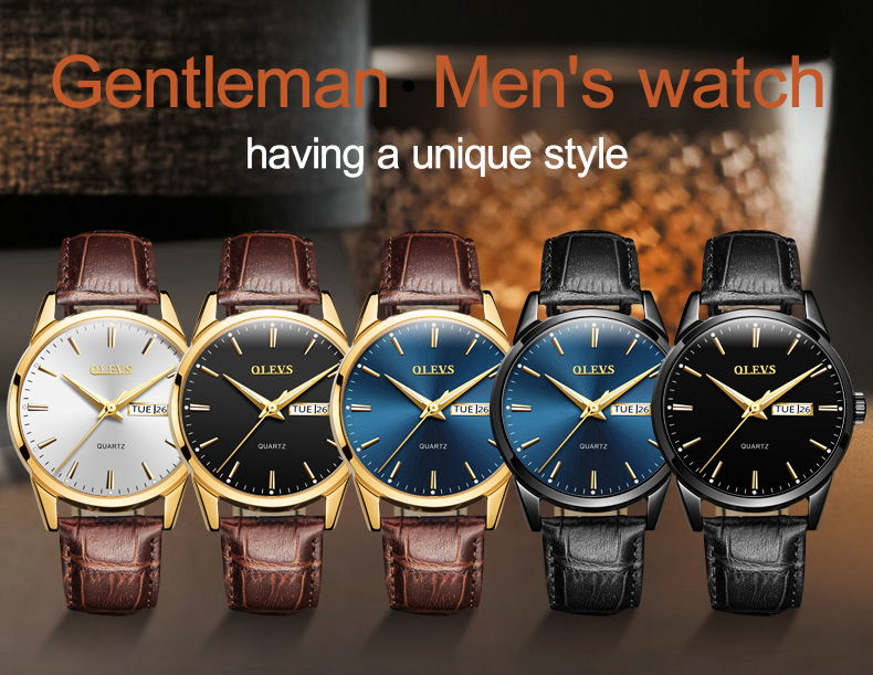 2020 OLEVS Watches OLEVS Watches for Men Fashion Sports Minimalist PU Leather Wristwatch Business with Date Analog Quartz Watch