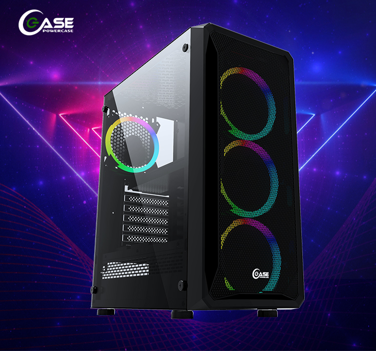 2020 Hot Sell Gaming Computer Case With Glass Mesh RGB Fan ATX Mid Tower Gaming PC CPU Case