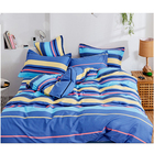Blue Stripes Luxury Printed Comforters Bedding Sets Cotton Bed Sheets