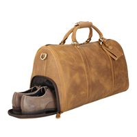 Tiding Custom Vintage Crazy Horse Genuine Leather Weekender Duffel Travel Bag With Shoe Compartment