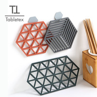 Tabletex Hollow Absorbent TPR rubber Coaster Hexagon Milk Coffee Cup Mats Pad Heat-insulated Non Slip Silicone Placemats